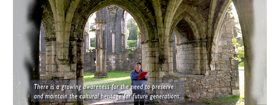 Recording the stone vaulting at Margam Abbey, South Wales.